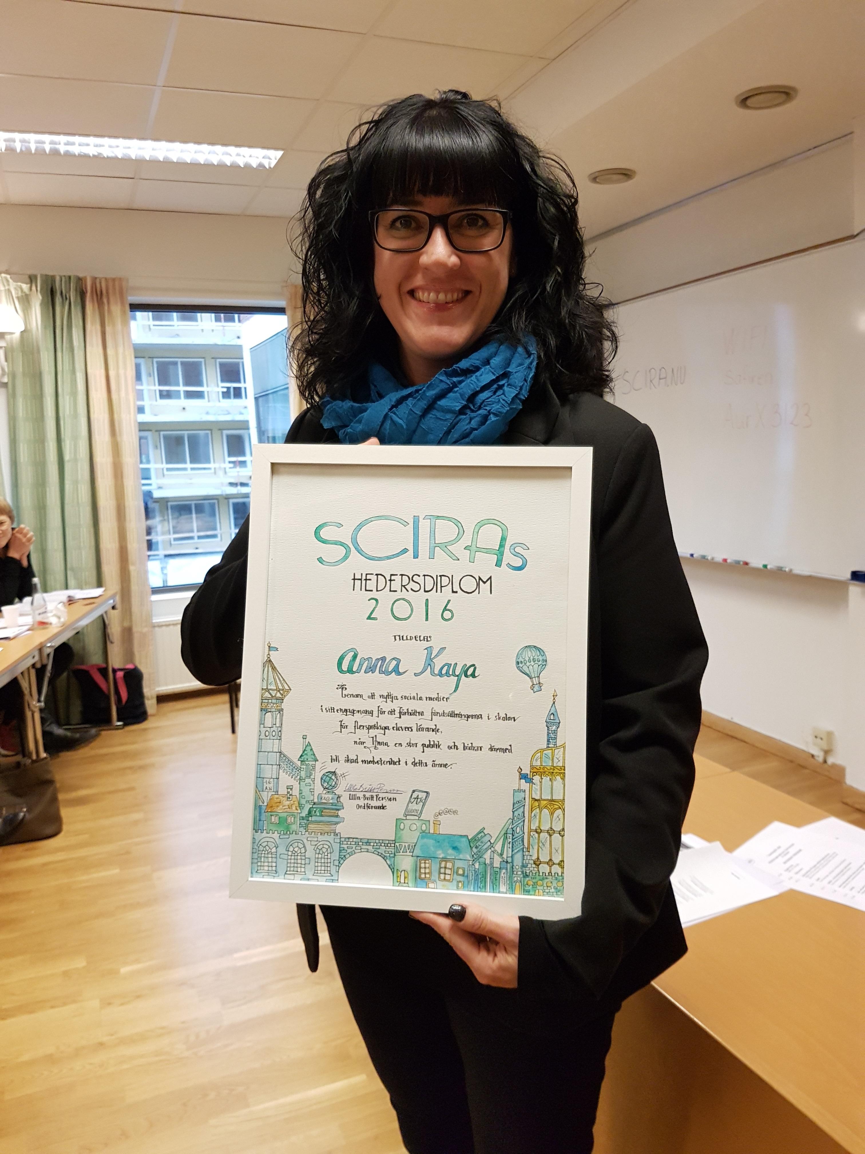 Anna Kaya tilldelas SCIRAS hedersdiplom 2016